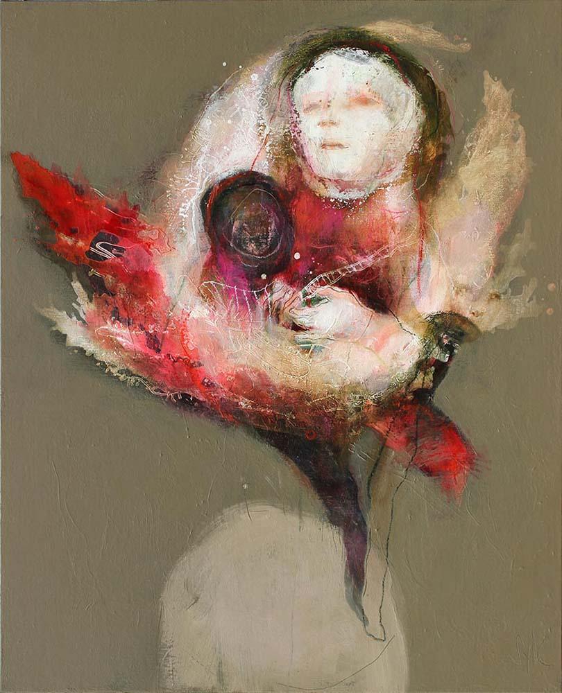 HUMAN BIRDS (XXXI), 2017 - Acrylique & pastel à l'huile sur toile, 100x81cm