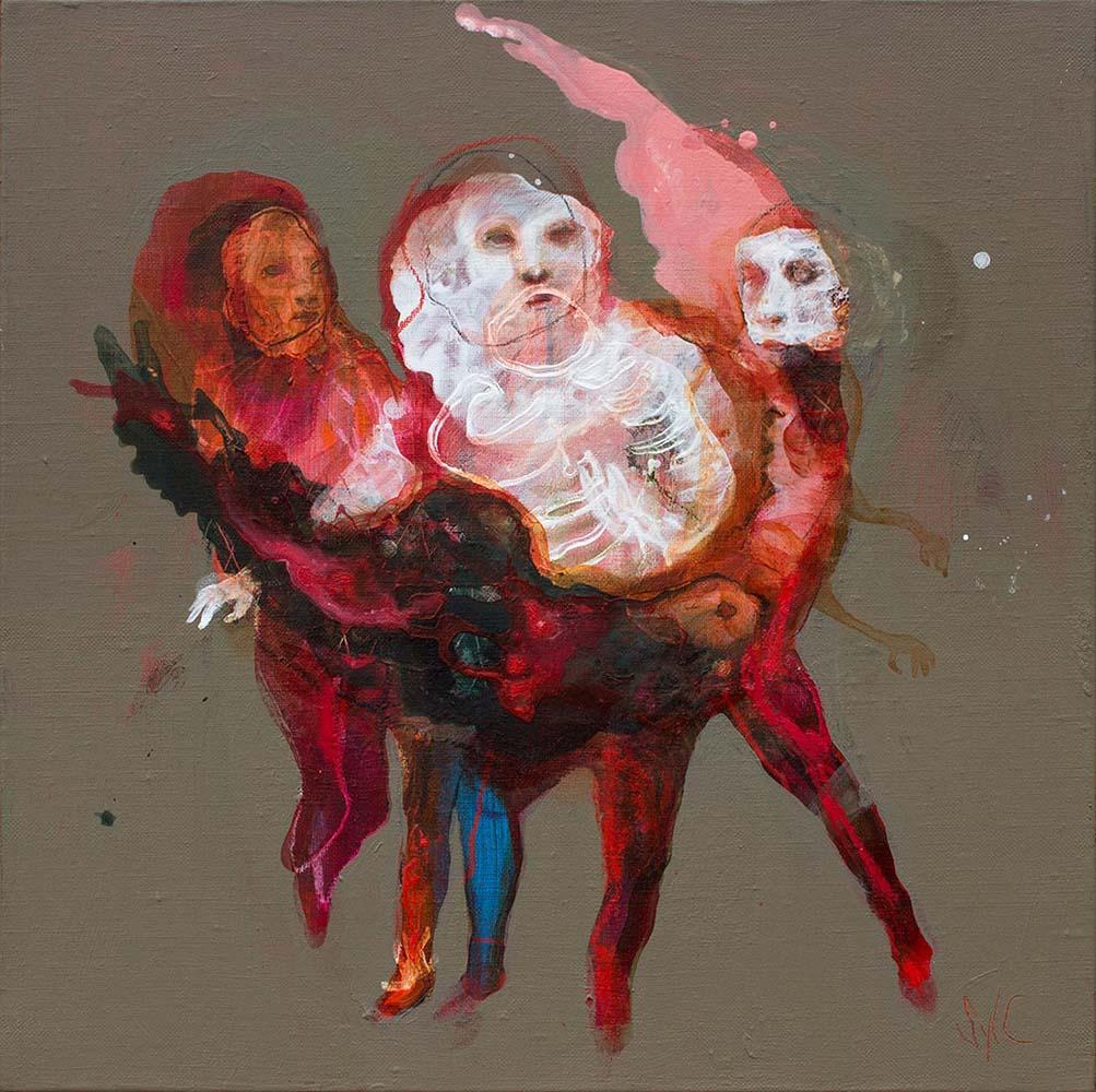 HUMAN BIRDS (XXXIV), 2017 - Acrylique & pastel à l'huile sur toile, 40x40cm