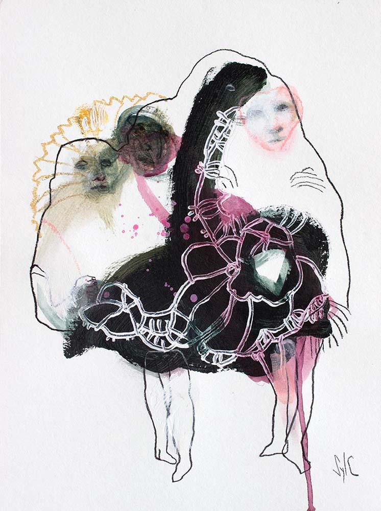 OSMOSE(S), Dessin #4, 2017 - Fusain, acrylique & pastel gras sur papier, 40x30cm