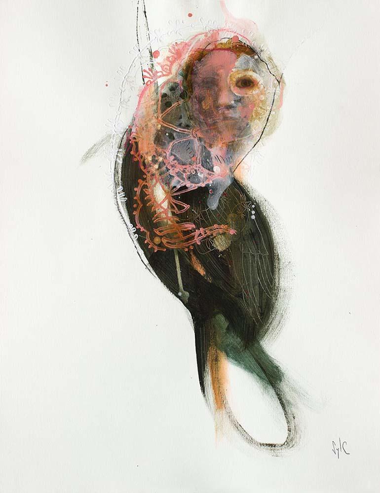 HUMAN BIRD, Dessin #34, 2017 - Fusain, acrylique & pastel gras sur papier, 65x50cm