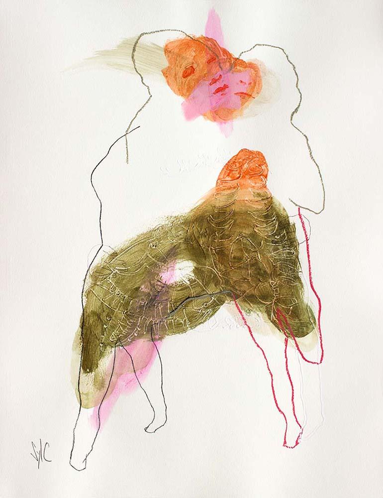 UNTITLED, 2017 - Fusain, acrylique & pastel gras sur papier, 65x50cm
