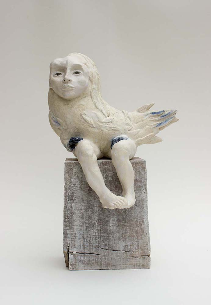 HUMAN BIRDS, Sculpture #1, 2017 - Céramique, émail & oxyde, 39x24x15cm