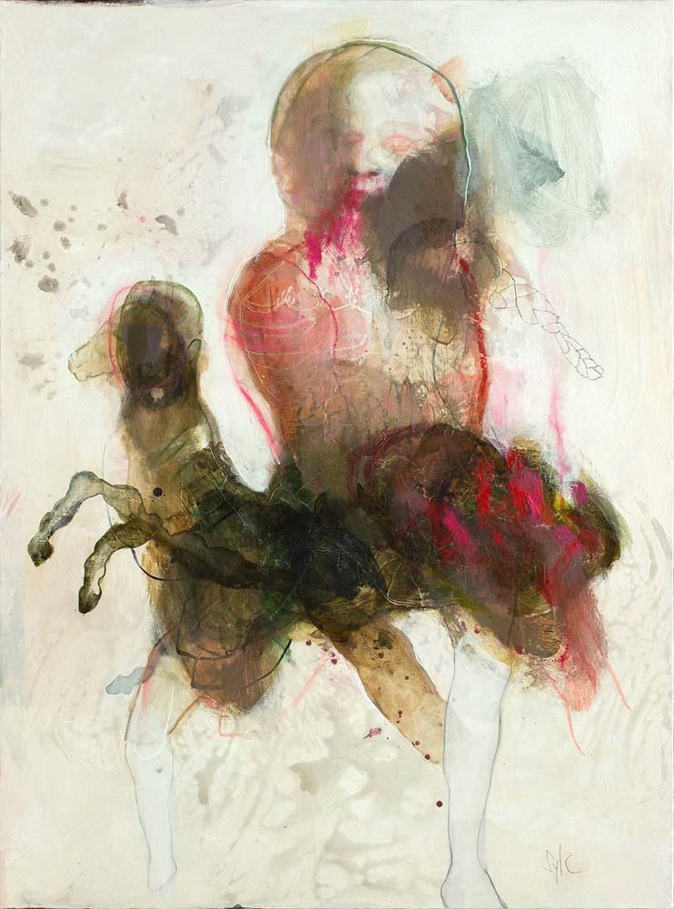 DIVINE CHEVAUCHEE, 2018 - Acrylique & pastel à l'huile sur toile, 130x97cm