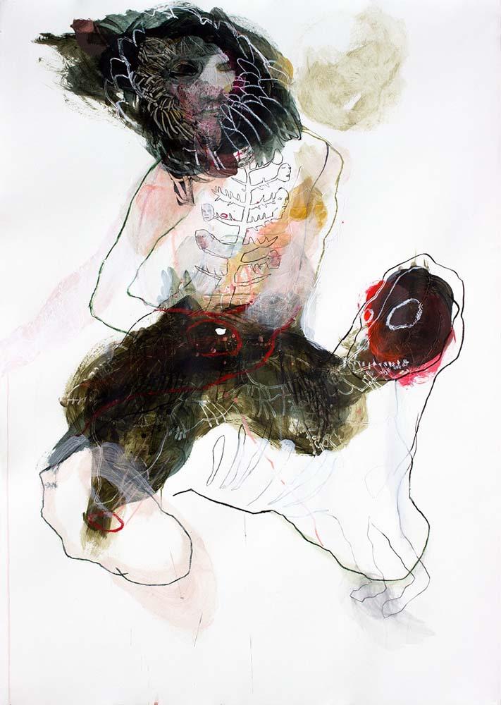 UNTITLED, 2018 - Fusain, acrylique & pastel gras sur papier, 140x100cm