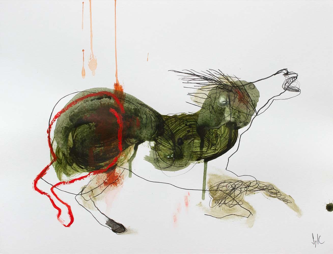 HORSE, Dessin #2, 2018 - Fusain, acrylique & pastel gras sur papier, 50x65cm