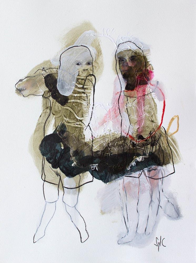 AVEC OU SANS CAVALIER, Dessin #2, 2018 - Fusain, acrylique & pastel gras sur papier, 40x30cm