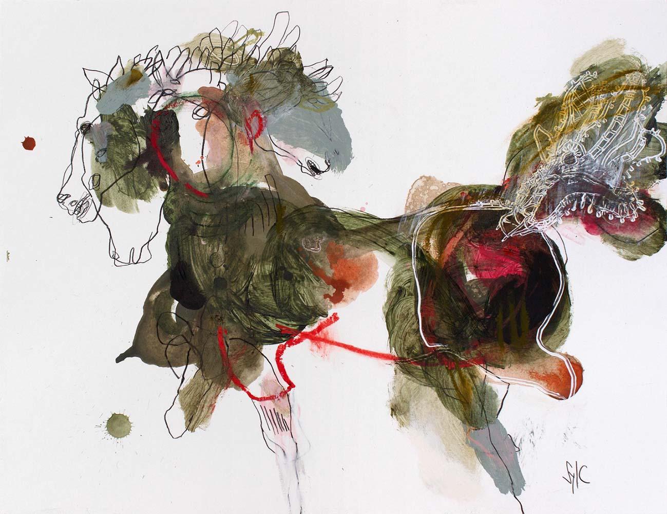 HORSE, Dessin #5, 2019 - Fusain, acrylique & pastel gras sur papier, 50x65cm
