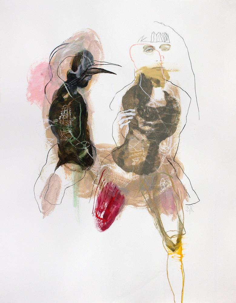 ALTÉRITÉ (FRAGMENTS), Dessin, 2019 - Fusain, acrylique, pastel gras & bâton à l'huile sur papier, 168x128cm